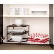 Kitchen Cabinet Organizing Amazon Com Seville Classics 2 Tier Corner Shelf Counter And