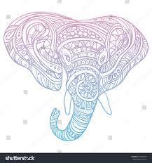 stylized head elephant ornamental portrait elephant stock vector