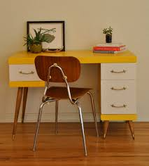 yellow and white mid century desk trevi vintage design