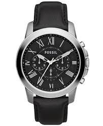 fossil black leather bracelet images Fossil men 39 s chronograph grant black leather strap watch 44mm tif