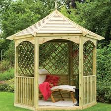 forest garden burford hexagonal gazebo half trellis sides solid roof