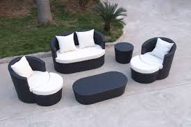 Outdoor Patio Loveseat Resin Wicker Outdoor Patio Furniture Sets 5 Pc Conversation Set