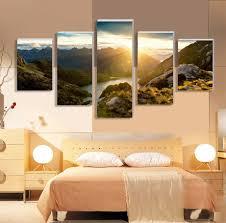 online get cheap sunrise mountains wall art aliexpress com 5 panel painting on canvas art sunrise mountain modular wall art living room pictures home decor