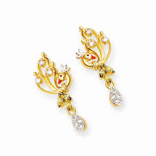 earrings in grt earrings gold peacock earrings grt jewellers