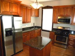 modern small kitchen design with island floor plan granite top
