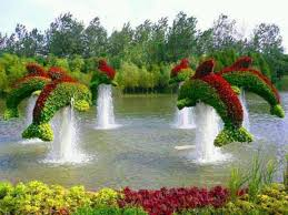 beautiful flower garden with fountain amazing creativity awesome