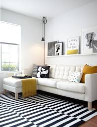 Black And White Living Room Rug U Shaped Sectional Sofa Modern Study Room Design
