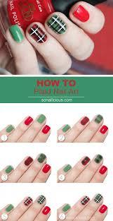 plaid nail art tutorial
