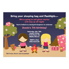 girls camping birthday party invitations u0026 announcements zazzle