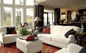 small living room decorating ideas beige woven rug varnished wood