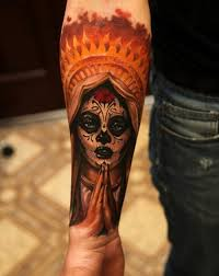 indian sugar skull on arm found my ink d up