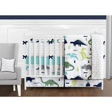 Design Crib Bedding Sweet Jojo Designs Blue And Green Mod Dinosaur Collection 9