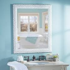 White Framed Mirror For Bathroom Distressed White Bark Framed Mirror 27 5x33 5 Kirklands