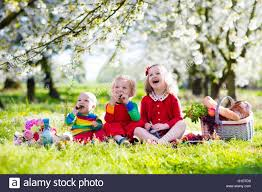 Kids Picnic Basket Little Children Eating Lunch Outdoors Kids With Picnic Basket In