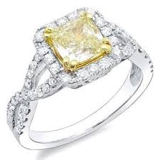 canary engagement rings 2 08 ct canary fancy yellow cushion cut engagement ring