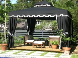 outdoor gazebo decorating ideas for summer with curtain and pool