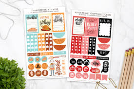thanksgiving and black friday printable planner stickers
