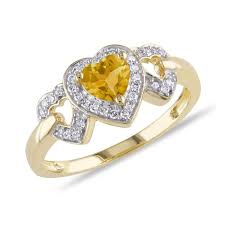 citrine engagement rings citrine and diamond heart yellow gold ring 1 10ctw item
