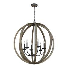 Forged Chandeliers Feiss Allier 6 Light Weathered Oak Wood And Antique Forged Iron
