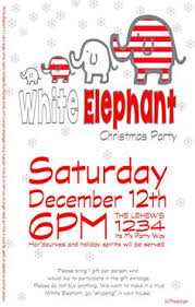 white elephant ornament exchange invitation by