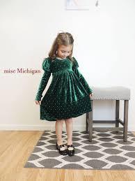 Toddler Christmas Dress Toddler Dress Velvet Dress Green Dress