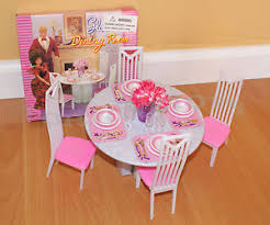 barbie dining room set new gloria dollhouse furniture 4 chairs round table dining room set