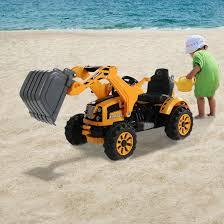 homcom kids ride on excavator 6v yellow aosom co uk
