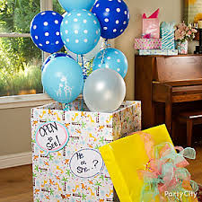 gender reveal balloons in a box gender reveal balloons idea starfish baby shower