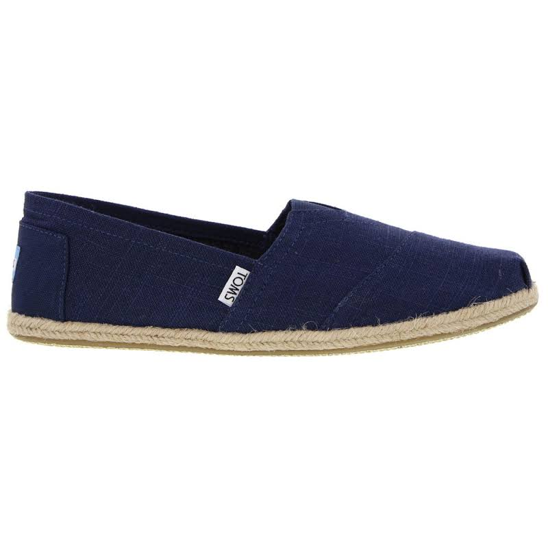 Toms Classic Linen Navy Ankle-High Canvas Slip-On Shoes 12M