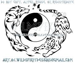 electric wolf and flurry tiger yin yang design by wildspiritwolf