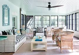 Sunroom Sofa Large Sunroom With White Wicker Sofa With Black And White Striped