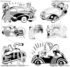 wrecked car clipart clipart of black and white retro people with cars royalty free