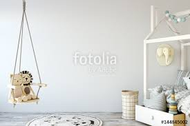 child room mock up wall in child room interior interior scandinavian style 3d