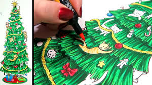cats in a christmas tree marker illustration youtube