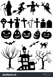halloween clipart black background set halloween silhouette on white background stock vector