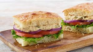 panera bread tuna salad sandwich on black pepper focaccia whole