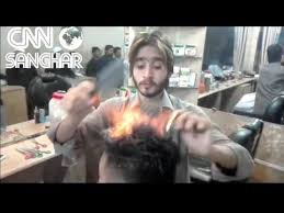 pakistan hair style video amazing pakistani hair stylist cutting hairs with fire amazing