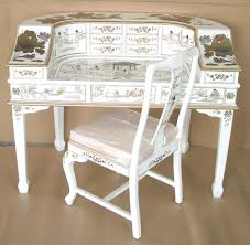 White Lacquer Desk by Oriental White Lacquer Mother Of Pearl Desk