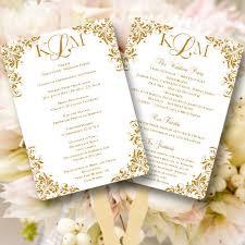 make your own wedding fan programs fan wedding programs kaitlyn gold monogram