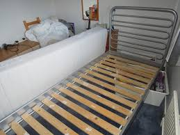 ikea single bed silver grey metal frame bed and mattress in