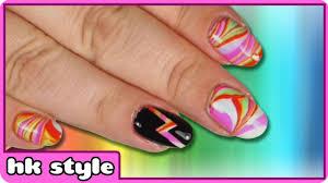 rainbow water marble nails water marble nail art nail art