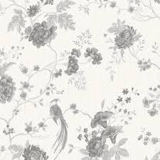 B Q Living Room Design Exotica White U0026 Silver Floral U0026 Birds Vinyl Wallpaper