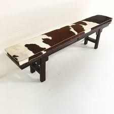 vintage chinese altar bench with custom brazilian cowhide cushion