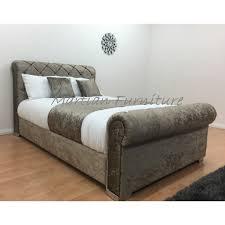 Velvet Sleigh Bed Ascot Crushed Velvet Upholstered King Size Bed Pictured In