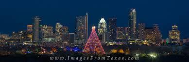 Trail Of Lights Austin Texas Zilker Park Tree And Austin Skyline Pano Austin Texas Images