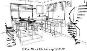clip art of 3d modern kitchen design made using cad design