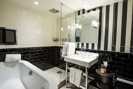 Austin Black And White Tile Bathroom Ideas Traditional With Floral