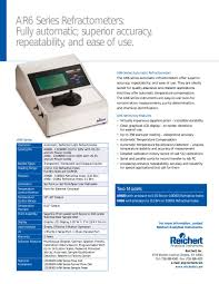 ar600 automatic digital refractometer reichert pdf catalogue