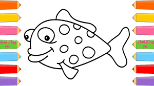 how to draw fish coloring pages animals for kids art colors for