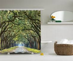 amazon com ambesonne woodland country primitive decor collection ambesonne woodland country primitive decor collection tree branches and leaves on an impressionist road scene landscape polyester fabric bathroom shower